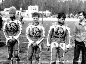 Półfinał MMPPK, Zielona Góra 1985. Od lewej: Andrzej Puczyński, Sławomir Drabik, Dariusz Rachwalik oraz kierownik drużyny