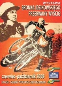 """Plakat reklamowy wystawy """"Bronka Idzikowskiego przerwany wyścig"""""""