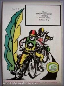 Program z Finału Brązowego Kasku z 1979 roku, w którym triumfował Józef Kafel